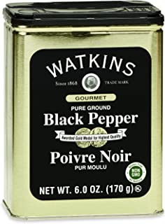Watkins Gourmet Spice Tin, Pure Ground Black Pepper, 6 oz. Tin, 1-Pack