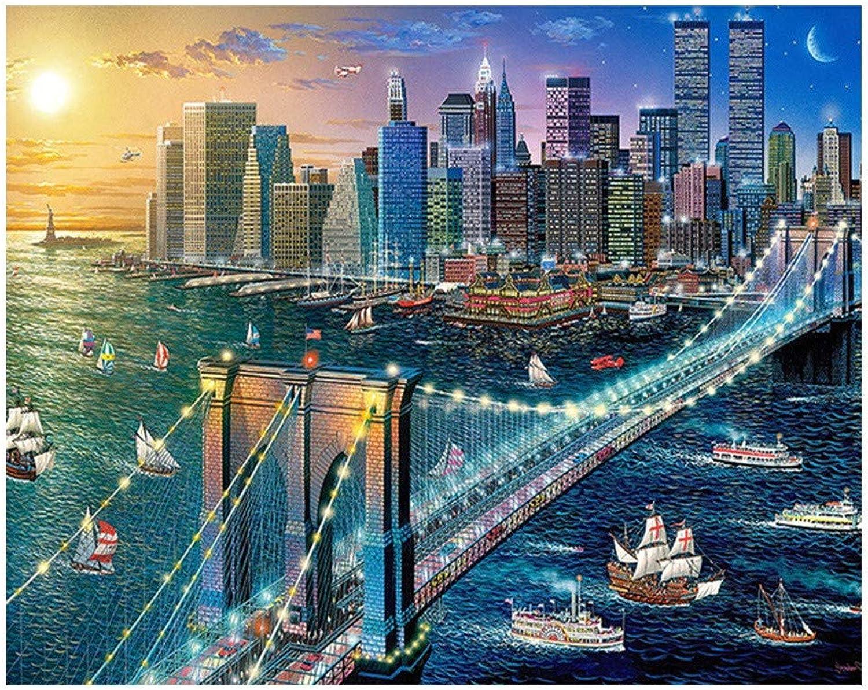DIY Diamante Bordado Paisaje 5D Pintura Bricolaje Ciudad Bricolaje Ronda Completa Rhinestone Mosaico Imagen 80X100cm