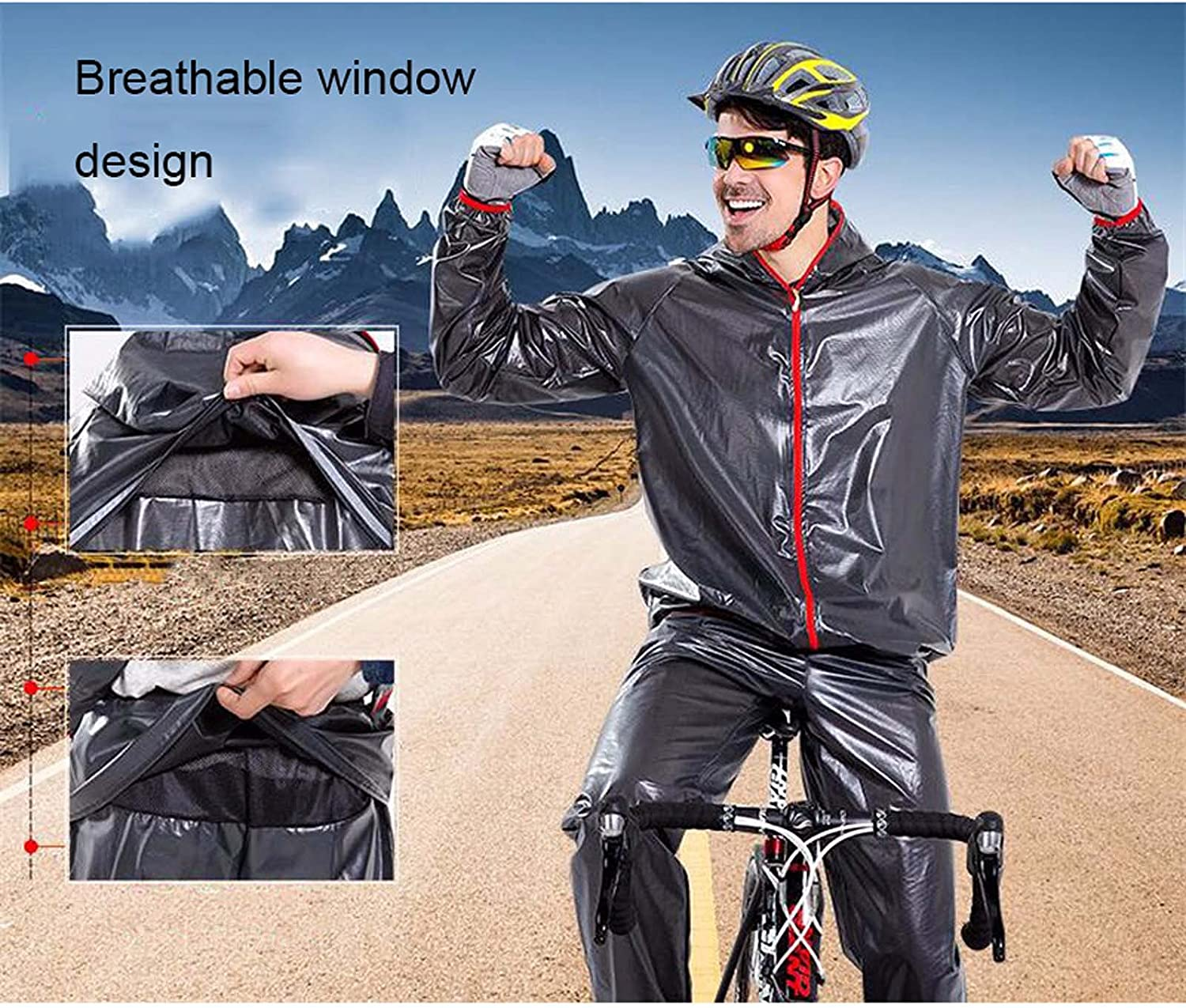 FHGH Men's Split Raincoat for Cycling, Portable Raincoat and Trousers Set, for Riding, Hiking and Traveling,D,Medium