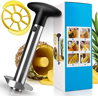 Pineapple Corer and Slicer, [Upgraded] Thicker 304 Stainless Steel Pineapple Cutter/Peeler with Wedger, Professional Pinea...