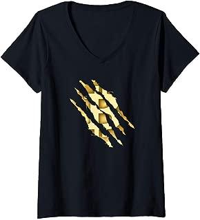Womens Satoshi Bitcoin Torn Animal Claw V-Neck T-Shirt