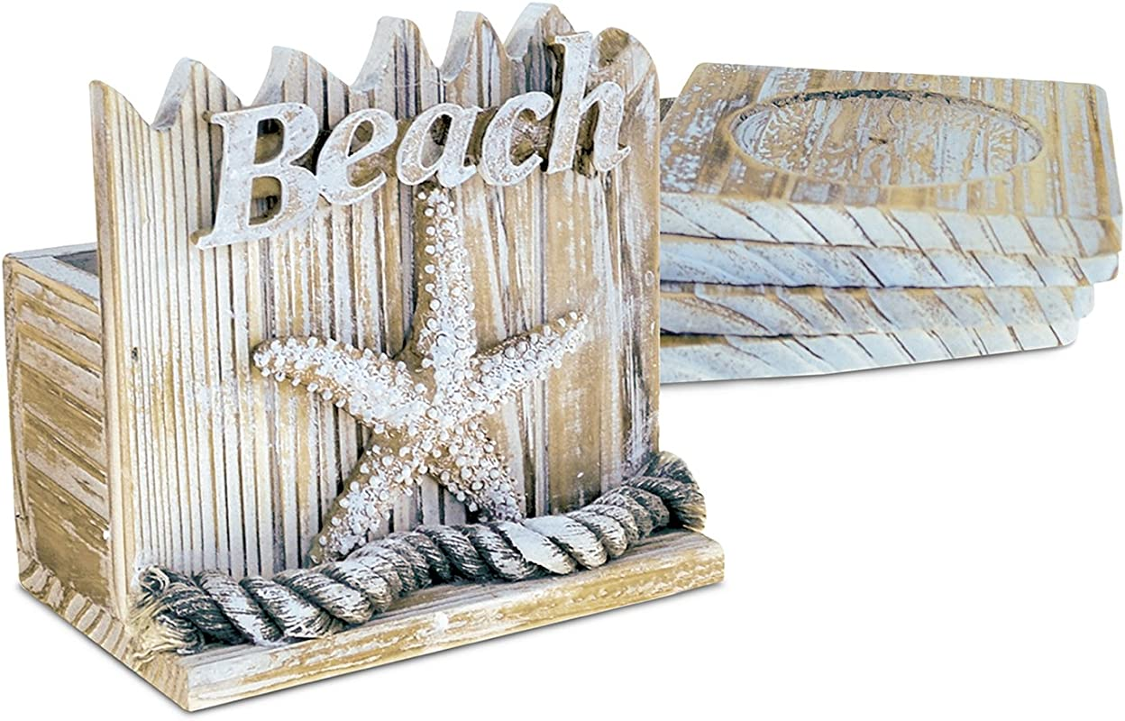 Puzzled Wooden Baja Beach Starfish Coaster With Holder 4 6 Inch Intricate Meticulous Wood Art Handcrafted Drinkware Coasters Nautical Coastal Themed Bar Supply Home Kitchen Accessory 5 Pc Set