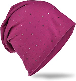 Cappello in morbido jersey con pregiata decorazione di strass, moda unisex, tinta unita