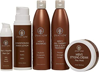 Ovation Hair Men's Holiday Gift Set with Cell Therapy - Get Stronger, Fuller & Healthier Looking Hair with Natural Ingredients - Includes Shampoo, Healthy Hair Gel, Styling Cream and more