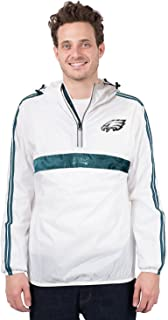 Ultra Game NFL Men's Quarter Zip Pullover Hoodie Packable Windbreaker Jacket