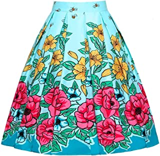 JUSSON Women's Skirt Printed Pleated Skirt Midi Skirt Cotton Fabric-Light blue