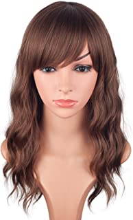 Medium Long Brown Wavy Synthetic Hair Wigs For Black Women Shoulder Length Curly Wigs Heat Resistant Wigs With Free Wig Cap 16 Inches.(Brown-2/30#)