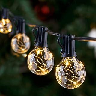 GlobaLink Lichtsnoer voor buiten, IP65, gloeilampen, G40, 11,7 m, tuinlichtketting met 30 lampen, buiten-/binnenverlichtin...