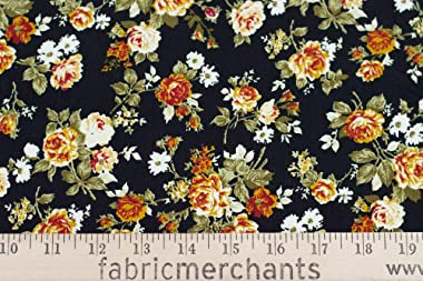 Fabric Merchants Corduroy Floral Fabric by The Yard, Black/Red/Mustard 10 Yards