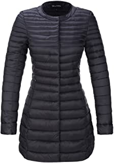 Bellivera Women's Puffer Jacket for Spring and Fall, Quilted Lightweight Coat with 2 Pockets,Cotton Filling,Water Resistant