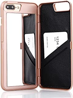 W7ETBEN iPhone 7 Plus Case, iPhone 8 Plus Case,Hidden Back Mirror Wallet Case with Stand Feature and Card Holder for Apple iPhone 8 Plus (2017) / iPhone 7 Plus (2016) 5.5 inch (Rose Gold)