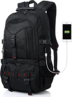 Tocode Fashion Laptop Backpack Contains Multi-Function Pockets, Durable Travel Backpack with USB Charging Port Stylish Anti-Theft School Bag Fits 17.3 Inch Laptop Comfort Pack for Women & Men–Black I