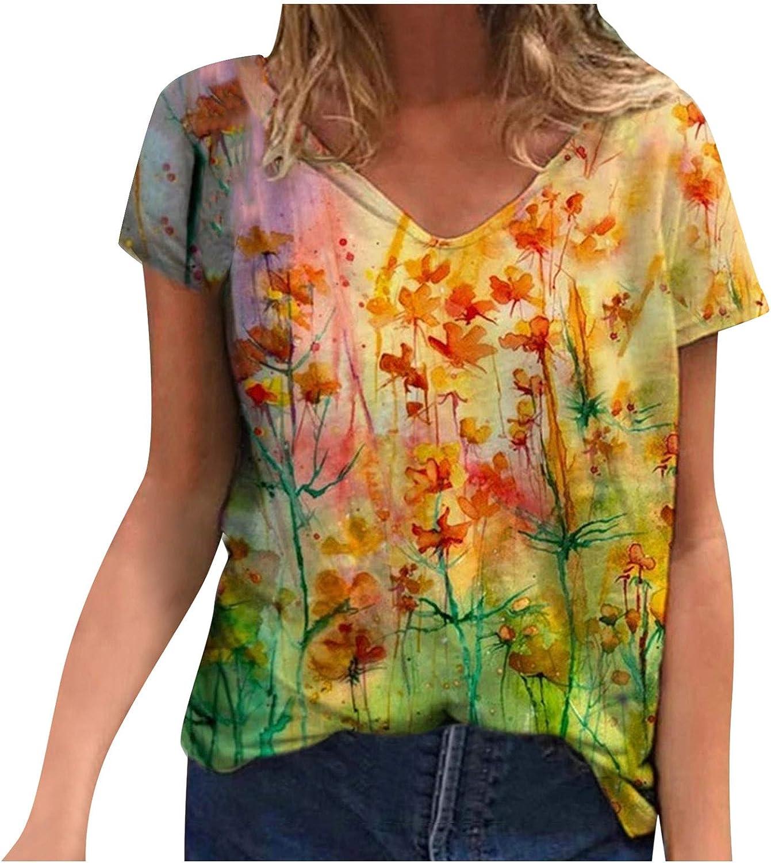 FABIURT Women Short Sleeve Shirts,Womens Fashion Danelion Printed T Shirt Casual Loose Crew Neck Graphic Tee Blouse Tops Yellow