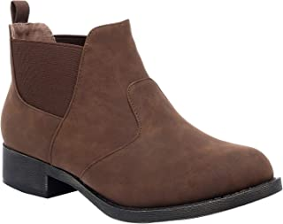Ataiwee Women's Ankle Boots - Chunky Heel Elastic Fashion Short Slip On Chelsea Casual Shoes.