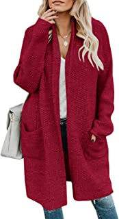 Gemijack Womens Plus Size Cardigan Sweaters Winter Chunky Open Front Casual Outwears with Pockets