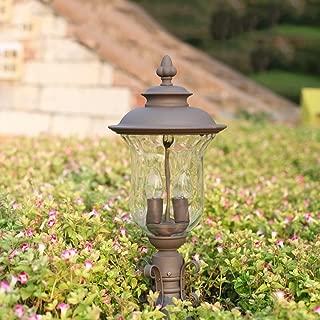 KMYX European-style pillar lamp Wall lamp Outdoor Luxury Colonial Outdoor Post Light Door Garden Landscape Pathway Lighting Column Lamp Waterproof Double E27 socket