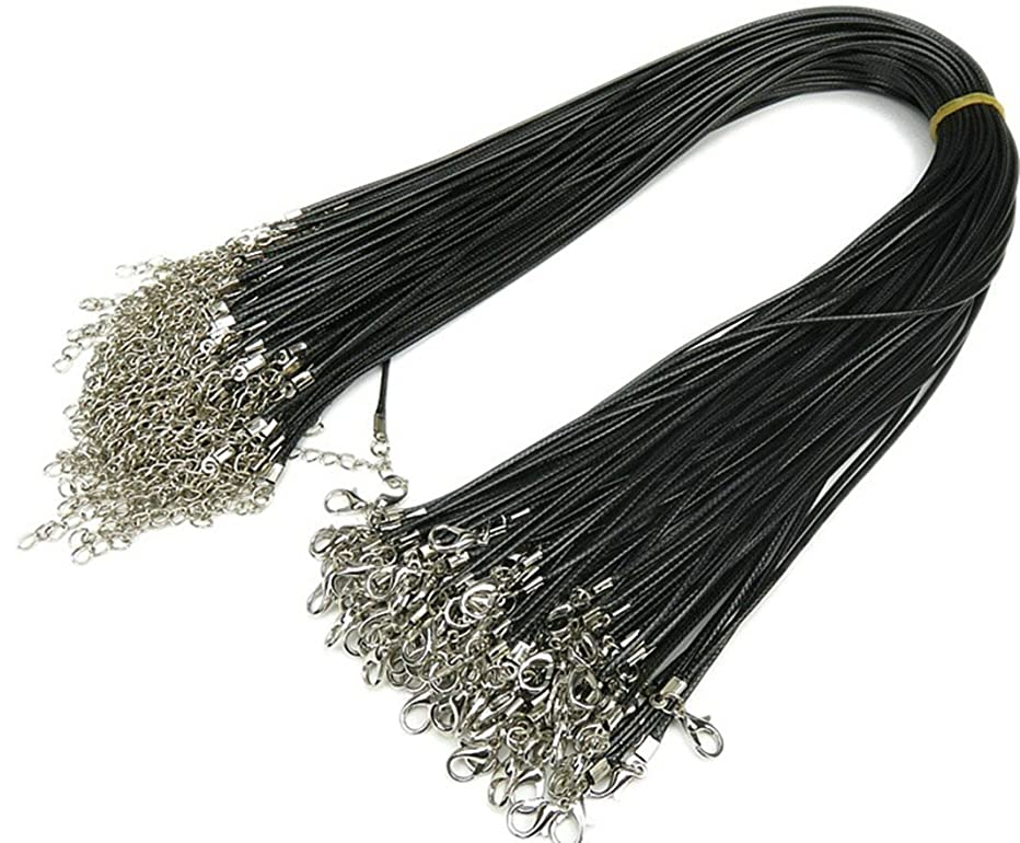 24'' Black 2.0mm Braided Imitation Leather Cord Rope Necklace Chain with Lobster Claw Clasp 50Pcs