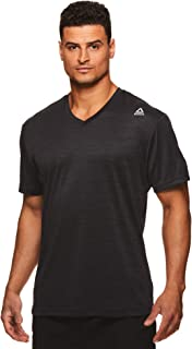 Reebok Men's V-Neck Workout Tee - Short Sleeve Gym & Training Activewear T Shirt