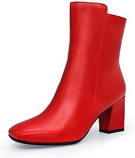 IDIFU Women's Ada Fashion Square Toe Short Boots Low Block Heel Side Zipper Ankle Booties-Half Size Larger