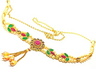 Golden Beads Waist Hip Belt Oval Shape Studded Stone Traditional Kamarband for Women/Girls