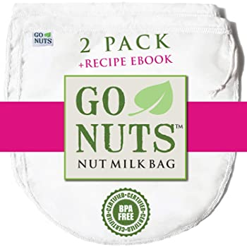 "2-PACK Best Nut Milk Bag - Restaurant Commercial Grade by GoNuts - Cheesecloth Strainer Filter For the Best Almond Milk, Cold Brew Coffee, Tea, Juicing, Yogurt, Tofu - BPA-Free Nylon 12""x10"" Fine Mesh - Durable Washable Reusable - FREE Recipe E-book"
