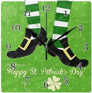 Saint Patrick's Day ben klöver väggklocka tyst icke-tickande fyrkantig konst målning klocka för hem kontor skoldekor