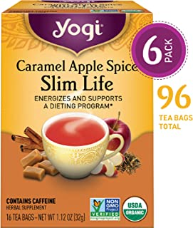Yogi Tea - Caramel Apple Spice Slim Life - Energizes and Supports a Dieting Program - 6 Pack, 96 Tea Bags Total