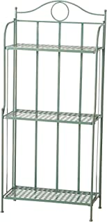 Charlton Street Bakers Rack, 3 Shelves, Rustic Green with Terracotta Undertone, Paint Rubbed Distressing, Vintage French Style, Iron, Woven Details, Folding, Indoor Outdoor Use, 4 Feet 7 Inches Tall