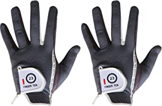 FINGER TEN Men's Golf Glove Rain Grip Pair Both Hand or 2 Pack Left Right Hand, Hot Wet..