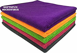 SOFTSPUN Microfiber Cleaning Cloth Set of 5 For Detailing & Polishing 340 GSM, 40 cm x 40 cm, Muticolor
