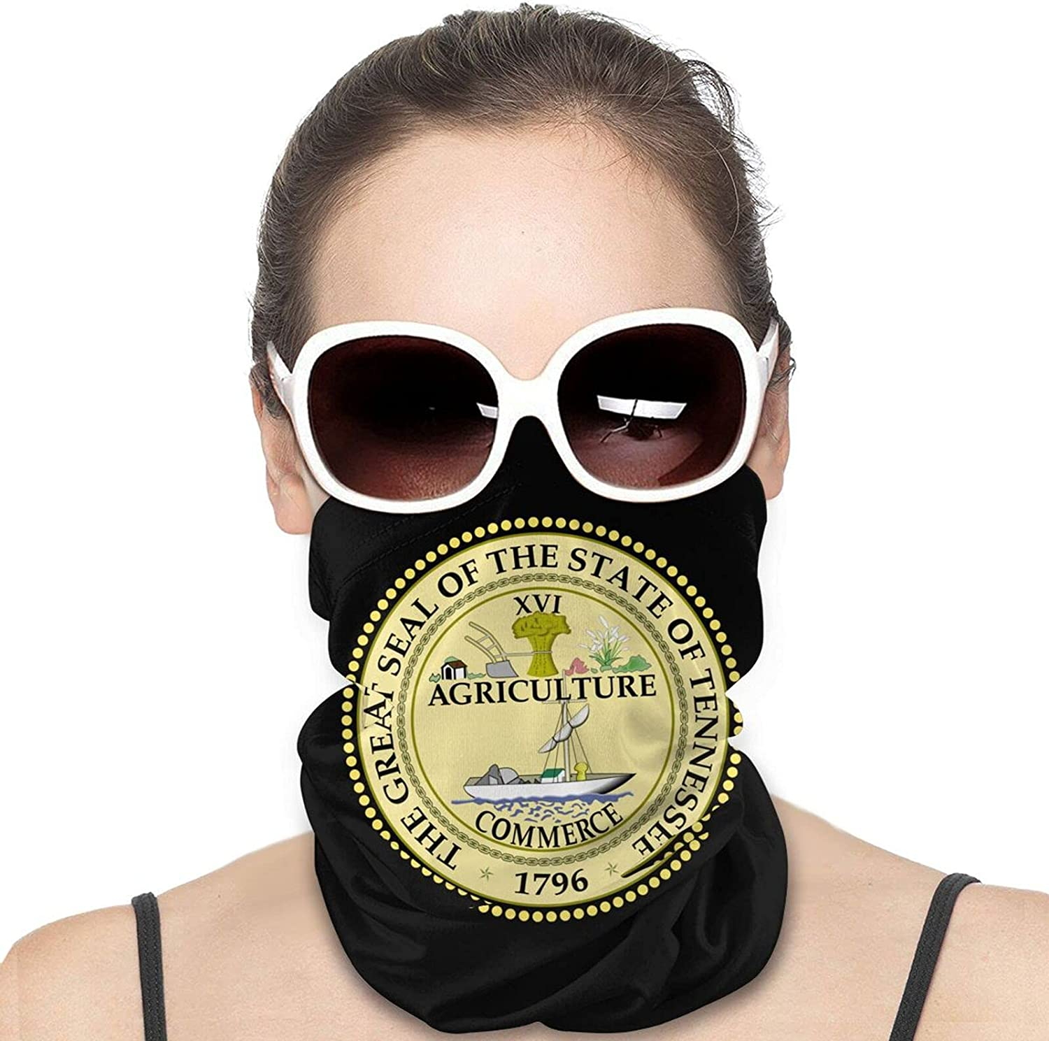 Seal of the State of Tennessee Round Neck Gaiter Bandnas Face Cover Uv Protection Prevent bask in Ice Scarf Headbands Perfect for Motorcycle Cycling Running Festival Raves Outdoors