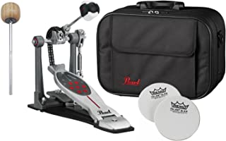 Pearl P2050C Eliminator Red Line Single Bass Drum Pedal Chain Drive w/ Case, Impact Patches and Extra Wood Beater