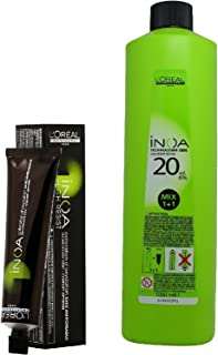 L'Oreal Inoa Ammonia-Free Permanent Colour 3 Dark Brown (1Tube) 60 ml with Inoa Oil Developer 1000 ml