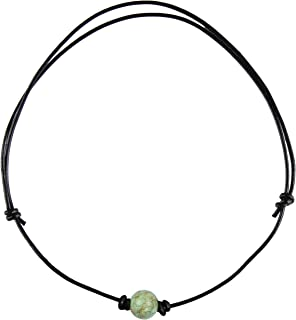 Single Turquoise Choker Necklace on Black Leather Cord for Men/Women