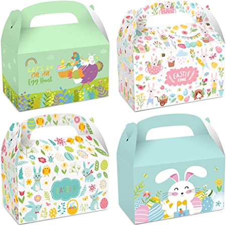 EXRIZU 8 Pack Easter Decorative Gift Treat Boxes 6.2 x 3.5 x 3.5 inch Egg Bunny Chicken Colorful Bag Paper Box for Easter Basket Stuffers Party Favor Gifts