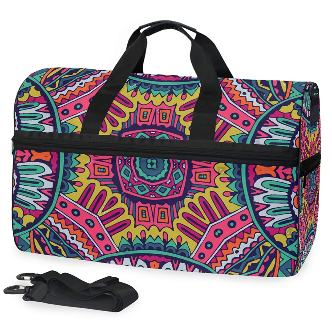 SLHFPX Duffle Bag Colorful Pattern Gym Bag with Shoe Compartment Sport Bag for Men Women