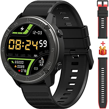IOWODO Smart Watch, Large Touch Screen Smartwatch with Heart Rate Monitor, Long Battery Life, 5 ATM Waterproof Fitness Tracker Compatible with iOS & Android Phone Pedometer Smart Watch for Men Women