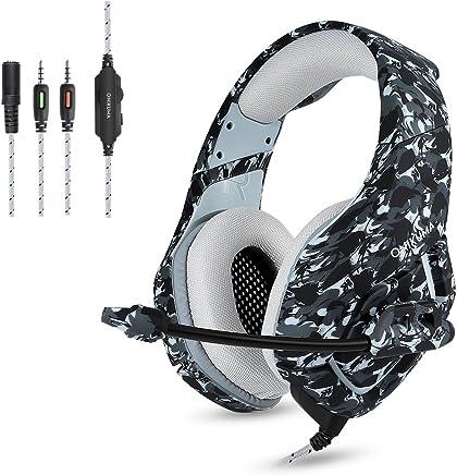 Camuflaje Auriculares Gaming Micrófono Cascos Juegos Estéreo para PS4 / Xbox One/ PC / Teléfono, Enchufe simple de 3.5 mm + cable corto para DualShock 4 Mando Inalámbrico, Gris