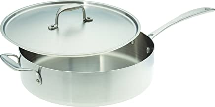 American Kitchen Cookware Stainless Steel Saute Pan with Lid, 12 inch