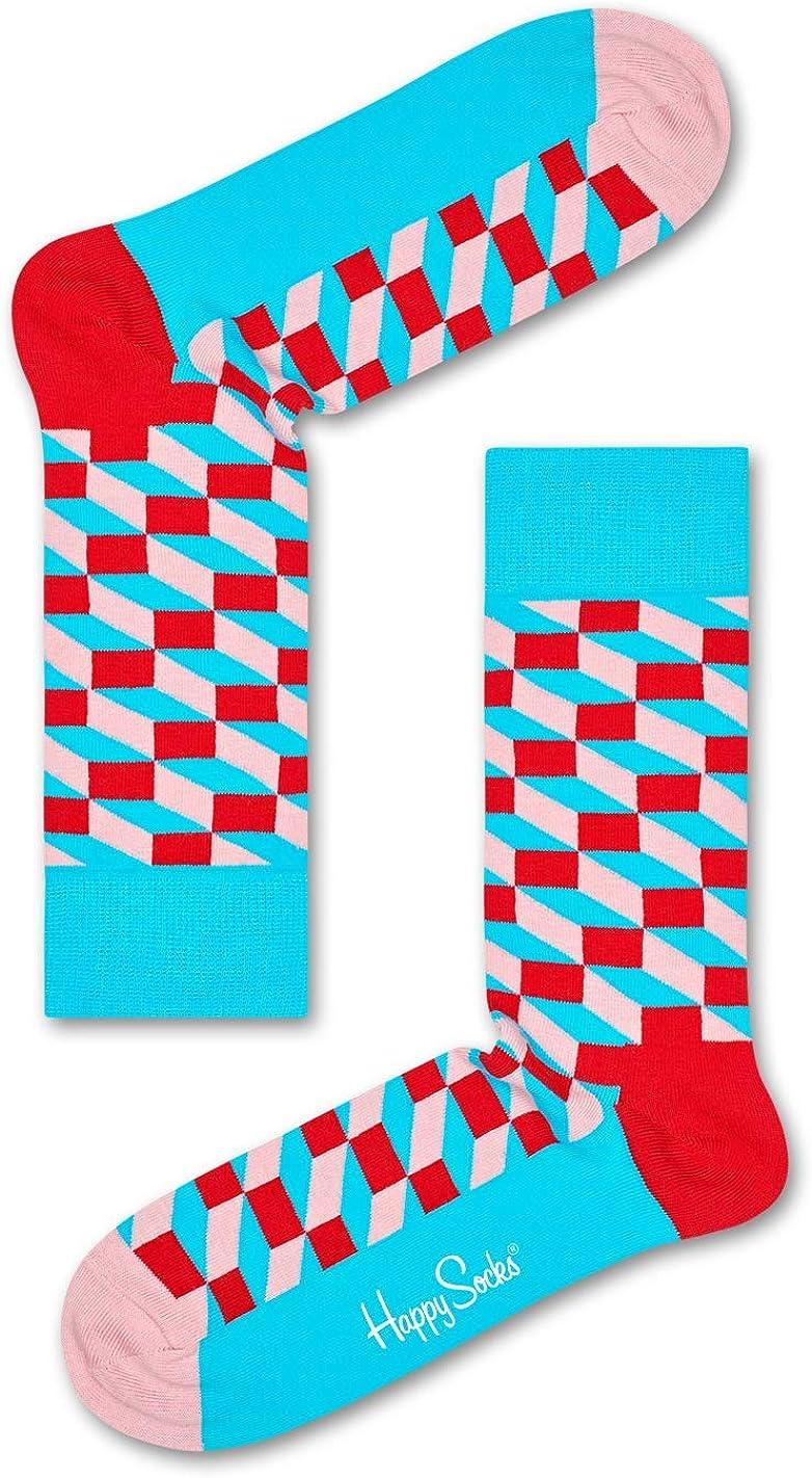 Happy Socks for Men, Women   Casual, Colorful, Fun, Unique Patterns   Premium Cotton Sock (Filled Optic, White, Size 10-13)