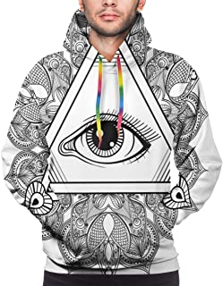 Men's Hoodies Sweatershirt,Vintage All Seeing Eye Tattoo Symbol with Boho Mandala Providence Spirit Occultism,