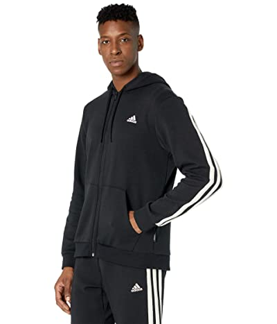 adidas Winter Fleece 3-Stripes Full Zip Hoodie (Black/Cream White) Men