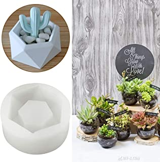 Diamond Shaped Diamond Shaped Pot Ceramic Clay Mold DIY Silicone Succulent Plants Concrete Planter Vase Molds Handmade Craft Cake Pizza Jelly Microwave and Freezer Mould
