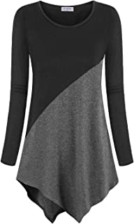 Bulotus Women Short Sleeve Color Block Tunic Tops Casual Long Shirt
