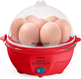 Nostalgia MyMini 7 Egg Cooker makes 7 soft medium or hard boiled eggs egg bowls includes egg white separator (Red)