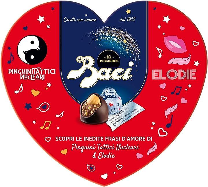 San valentino Scatola cuore baci perugina cioccolatini fondenti ripieni al gianduia e nocciola B081QQGXDC
