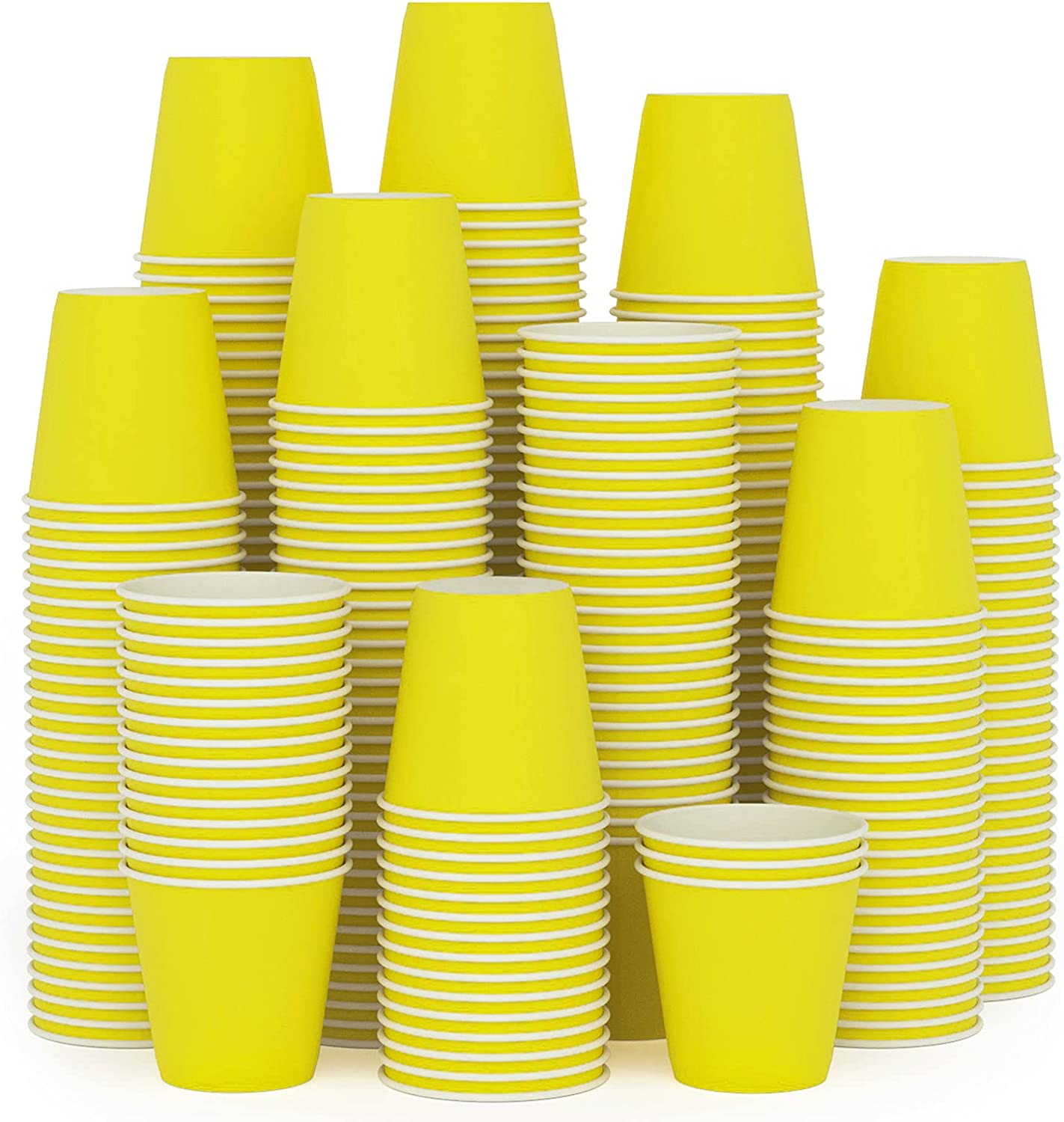 300Pack 3oz Small Paper Cups,Disposable Yellow Bathroom Cups, Mouthwash Cups,Espresso Cups, Hot/Cold Beverage Drinking Cup for Party, Picnic,Travel and Event