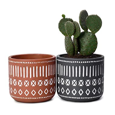 POTEY Cement Plant Pots Concrete Flower Planters - 4.3  Medium Pot with Drain Hole - Handcraft Geometry Cylinder Deco Indoor - Set of 2, Brown, Grey