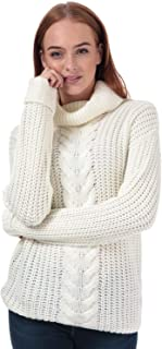 Brave Soul Womens Roll Neck Cable Jumper in Ivory.