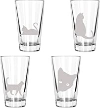 Cute Cats Being Cats Drinking Glasses: 4 Engraved 16oz. Pint Glasses: Perfect gift for a cat lover, cat decor, cat mom
